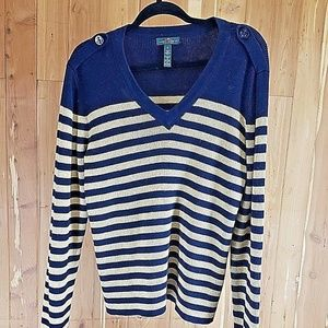 LRL XL Blue and Gold sparkle Nautical Sweater